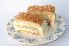 French dessert. Custard Slice (millefeuille Stock Photos