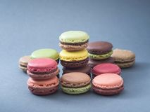 French dessert macarons color and taste variations. Different tastes and colour French macarons with an unsaturated blue background Royalty Free Stock Photography