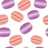 French dessert macaroons pattern. French macaroons dessert. Pattern on a white background. Vector illustration of a flat style Stock Photo