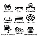 French dessert, pastry and cakes icons - creme brulee, chocolate mousse, souffle. Vector icons set - traditional French food  isolate on white Stock Photography