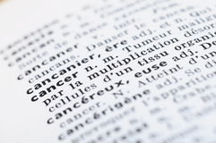 French Dictionary at the word Cancer Stock Photography