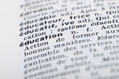 French Dictionary at the word Education Stock Photo