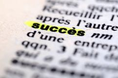French dictionary at the word Success Stock Photo