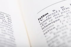 French dictionnary at word Islam Stock Image