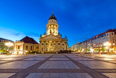 The French Dom in Berlin at night Royalty Free Stock Images