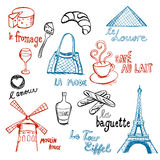 French Doodles. Collection Of Hand-Drawn Pictures From Paris And France Stock Photo