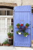 French door with plants Stock Photo