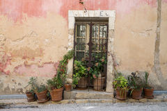 French doorway in Provence. French doorway and potted plants in Provence Royalty Free Stock Photo