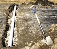 French Drain Intallation Stock Photo