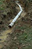 French Drain Outlet. Pipe being installed Stock Photography