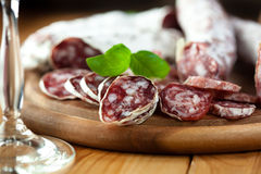 French dried sausages Royalty Free Stock Images