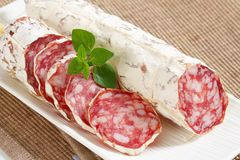 French dry sausage Stock Photo
