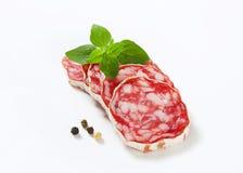French dry sausage. Sliced French Saucisson Sec - studio shot royalty free stock photo