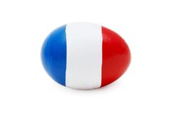 French Easter Egg (isolated). Close-up of easter egg with abstract french flag on it Royalty Free Stock Photography