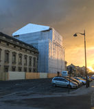 The French Ecole Militaire under renovation, lit by a winter sunset in Paris, France Stock Photo