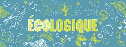 French ecologic banner. French ecologic green illustrations doodles vector banner Royalty Free Stock Photo