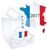 2017 French election ballot box. Map of France in colors of National Flag with year 2017 and transparent election ballot box in foreground royalty free illustration