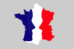French elections concept, map of France with 2 faces. Grey background stock illustration