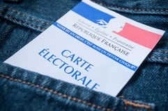French electoral card in blue jeans pocket. Closeup of french electoral card in blue jeans pocket Stock Photography