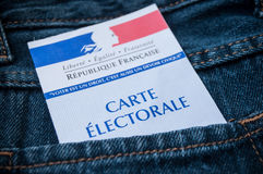 French electoral card in blue jeans pocket. Closeup of french electoral card in blue jeans pocket Royalty Free Stock Image