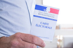 French Electoral Card Closeup, Presidential and Legislative Elections Concept Royalty Free Stock Photography