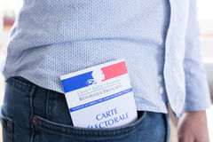 French Electoral Card Closeup, Presidential and Legislative Elections Concept Stock Photos