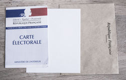 French Electoral Card Closeup, Presidential and Legislative Elections Concept Stock Photo