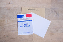 French Electoral Card Closeup, Presidential and Legislative Elections Concept Royalty Free Stock Photo