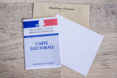 French Electoral Card Closeup, Presidential and Legislative Elections Concept Royalty Free Stock Images