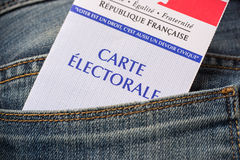 French electoral card in the rear pocket of a jeans, presidential elections concept Royalty Free Stock Images