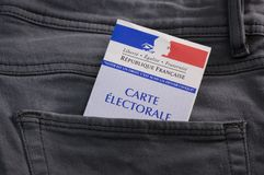 French electoral voter card official government allowing to vote paper in jeans back pocket. France stock images
