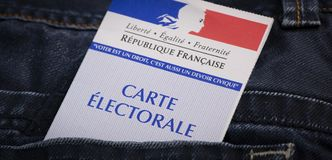 French electoral voter card official government allowing to vote paper in jeans back pocket. France royalty free stock photos