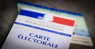 French electoral voter cards official government allowing to vote paper on grey background. France stock image