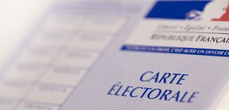 French electoral voter cards official government allowing to vote paper on white background. France stock photos