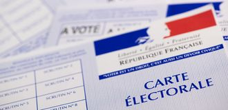 French electoral voter cards official government allowing to vote paper on white background. France royalty free stock photography