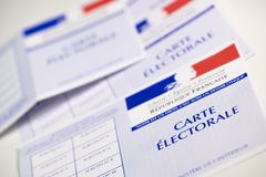French electoral voter cards official government allowing to vote paper on white background. France stock photography