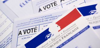 French electoral voter cards official government allowing to vote paper on white background. France stock image
