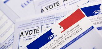 French electoral voter cards official government allowing to vote paper on white background. France stock images