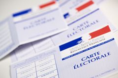 French electoral voter cards official government allowing to vote paper on white background. France stock photo