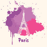 French Emotive Motive with architecture attraction. Bright impressions in Paris. Eiffel tower doodle sketched white on pink and violet paint spot with splashes Royalty Free Stock Images