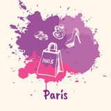 French Emotive Motive with shopping attributes Stock Photography