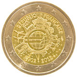 French 2 euro coin. Stock Images