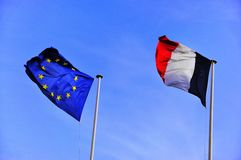 French And European Flags Stock Images