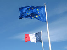 French and European flags in the sky Stock Image