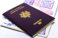 French and european passport close up royalty free stock photos