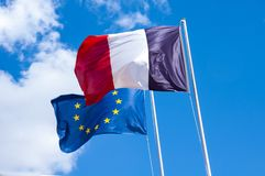 French and European union flags Stock Photography