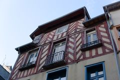 French exposed wood buildings brittany royalty free stock photos