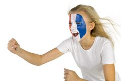 French fan. Young screaming french fan with painted flag on face. White background, side view Royalty Free Stock Photo