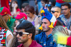 French fan during video translation of the football match Portugal - France final of the European championship 2016 Stock Photo