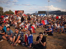 French fans in the fan zone Royalty Free Stock Images